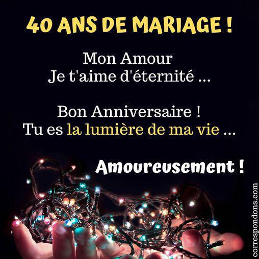 Jolie carte 40 ans de mariage pour souhaiter un joyeux anniversaire de mariage à sa femme ou son mari