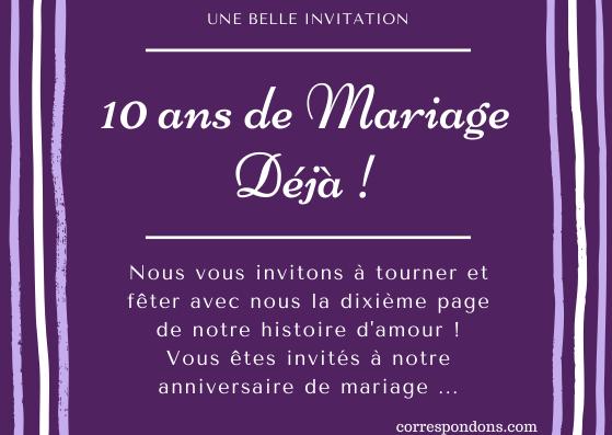 Textes 10 Ans De Mariage Félicitations Humour Message