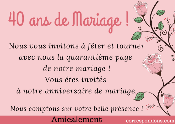 Anniversaire 40 Ans Mariage Texte Noces Démeraude