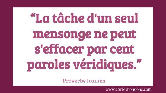Beau proverbe sur le mensonge la trahison et l'infidélité