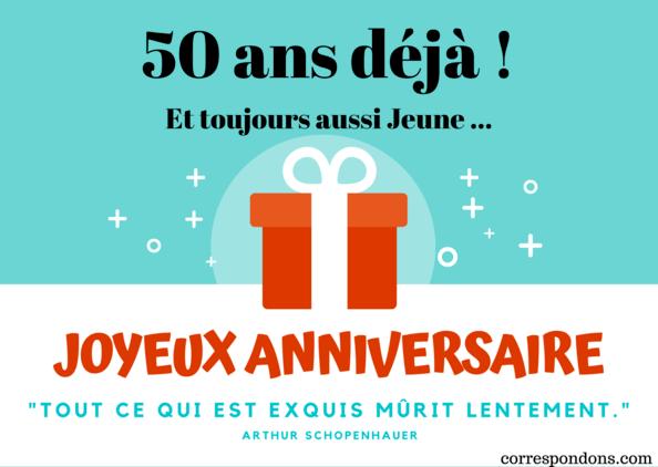 Message Joyeux Anniversaire 50 Ans Cartes Textes Sms Poème