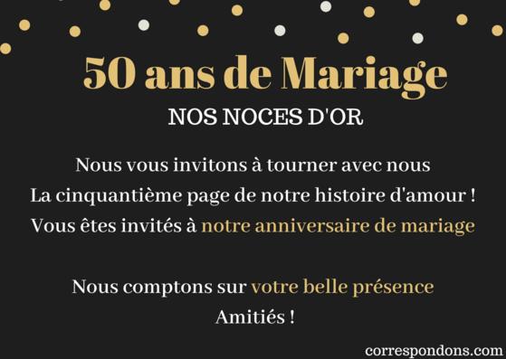Texte carte noce d'or message invitation 50 ans de mariage